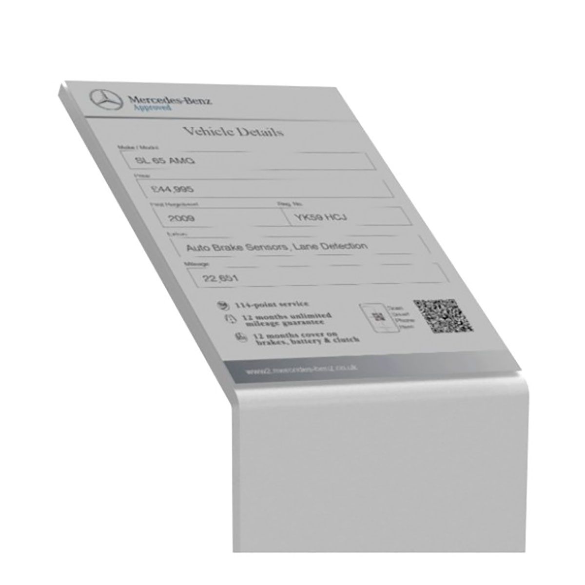 Acrylic Showroom Specification Card Stands