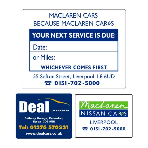Service Stickers Printed Car Service Reminder Stickers